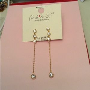 Earrings gold over silver cubic zirconia NWT